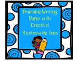 Printable Writing Paper with Editing Checklist