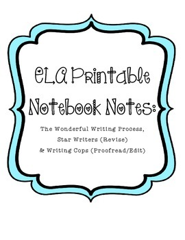 Printable Writing Notes Bundle (Revision, Proofread, Writing Process Steps)