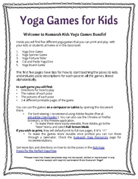 printable yoga games for kids with 24 yoga poses