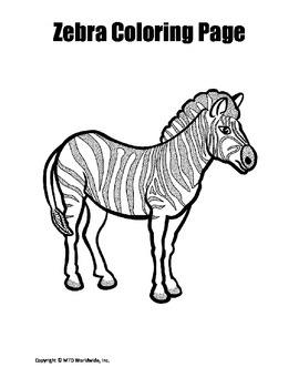 Printable Zebra Coloring Page Worksheet