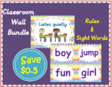 Printable ZigzAg Classroom rules and 100 Sight Words Bundle