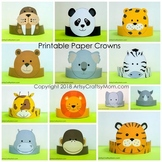 Zoo Animals  Printable Paper Crowns  - Color + Black & white version