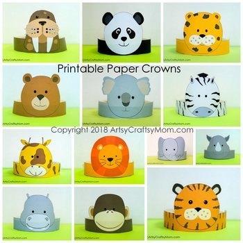 graphic relating to Printable Animals called Zoo Pets Printable Paper Crowns - Colour + Black white variation