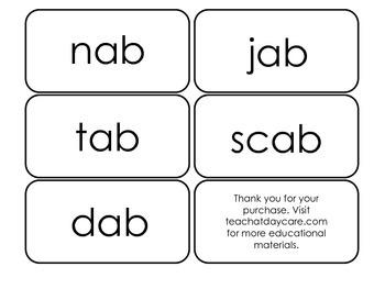Printable ~ab Word Families Flash Cards.  Prints 10 cards.  Literacy Basics.