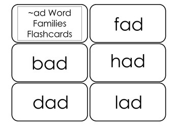 Printable ~ad Word Families Flash Cards.  Prints 10 cards.  Literacy Basics.