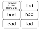 Printable ~ad Word Families Flash Cards.  Prints 10 cards.