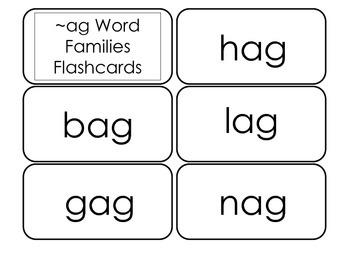 Printable ~ag Word Families Flash Cards.  Prints 10 cards.  Literacy Basics.
