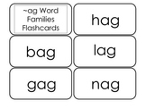Printable ~ag Word Families Flash Cards.  Prints 10 cards.
