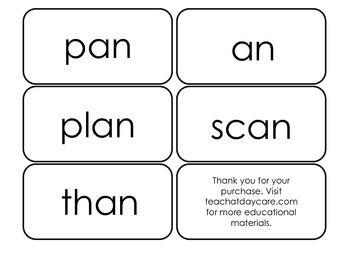 Printable ~an Word Families Flash Cards.  Prints 10 cards.  Literacy Basics.