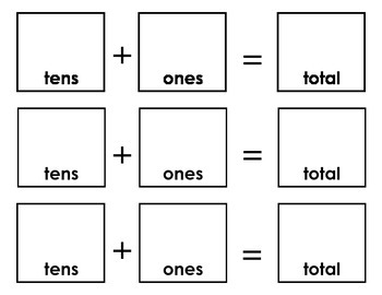 Printable and Cuttable Base Ten Addition Boards - Horizontal