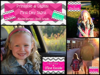 Printable and Digital Back to School Signs for Kindergarten through Sixth Grade