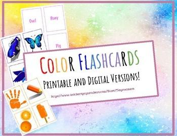 Large Printable and Digital - Color Flashcards-Gogokid-K1 Levels