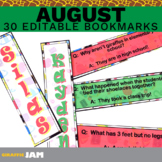 Editable and Personalized August Bookmarks for Classroom Rewards and Gifts