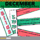 Editable and Personalized December Bookmarks for Classroom Rewards and Gifts