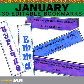 Editable and Personalized Bookmarks for Students for January with Jokes