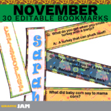 Editable and Personalized November Bookmarks for Classroom Rewards and Gifts