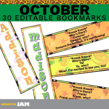Editable and Personalized Halloween Bookmarks for Students for October w/ Jokes