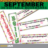 Editable and Personalized September Bookmarks for Classroom Rewards and Gifts