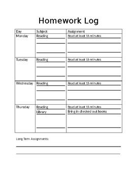 Printable and Editable Homework Log by Heather Tiraschi | TpT