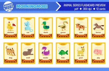 image about Animal Cards Printable named Printable animal flash playing cards for small children