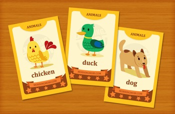 Printable animal flash cards for children