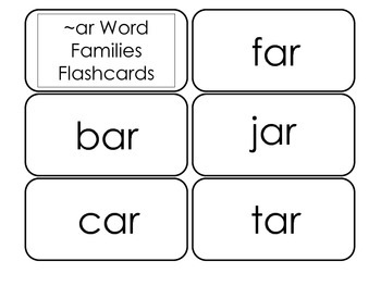 Printable ~ar Word Families Flash Cards.  Prints 10 cards.  Literacy Basics.