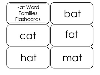 Printable ~at Word Families Flash Cards.  Prints 10 cards.  Literacy Basics.