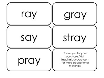 Printable ~ay Word Families Flash Cards.  Prints 10 cards.  Literacy Basics.