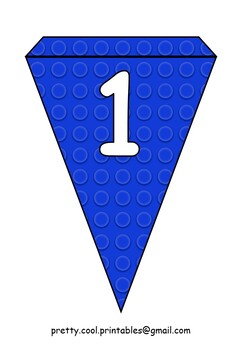 Printable bunting display bulletin letters numbers: Building Blocks Blue