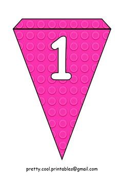 Printable bunting display bulletin letters numbers: Building Blocks Light Pink