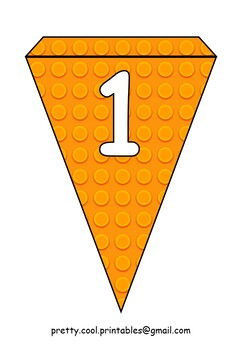 Printable bunting display bulletin letters numbers: Building Blocks Orange