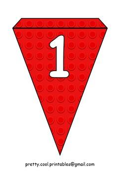 Printable bunting display bulletin letters numbers: Building Blocks Red