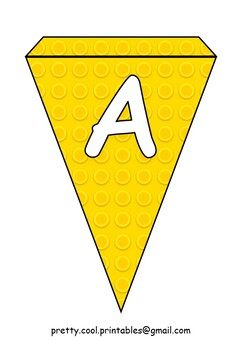 Printable bunting display bulletin letters numbers: Building Blocks Yellow