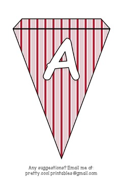 Printable bunting display bulletin letters numbers and more: Christmas Stripes