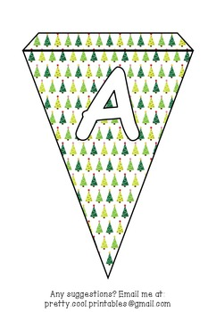 Printable bunting display bulletin letters numbers and more: Christmas Tree