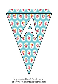 Printable bunting display bulletin letters numbers and more: Flowers