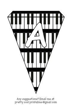 Printable bunting display bulletin letters numbers and more: Music Piano Keys