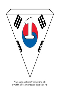 Printable bunting display bulletin letters numbers and more: South Korea Flag