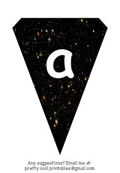 Printable bunting display bulletin letters numbers & more: Science Galaxies Star