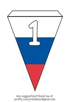 Printable bunting display bulletin letters numbers & more: World Cup Russia Flag