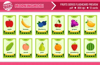 Printable colorful fruits flash cards