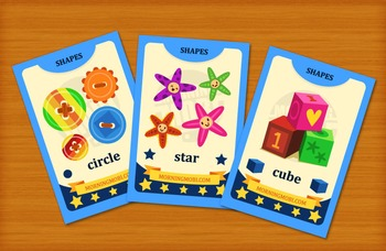 Printable colorful shapes flash cards