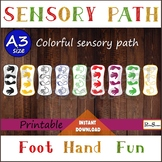 Printable decals HANDS & FEET A3 Sensory path, Colorful hopscotch set for floor