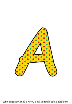 Printable display bulletin letters numbers and more: Bright Dots