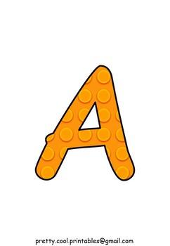 Printable display bulletin letters numbers and more: Building Block Orange