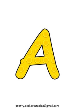 Printable display bulletin letters numbers and more: Building Block Yellow