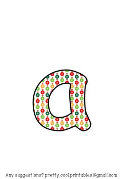 Printable display bulletin letters numbers and more: Christmas Baubles