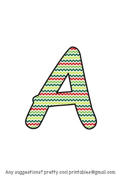 Printable display bulletin letters numbers and more: Christmas ZigZag