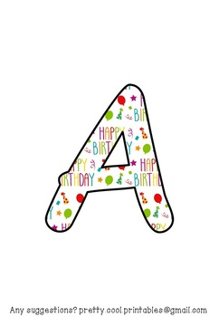 Printable display bulletin letters numbers and more: Happy Birthday