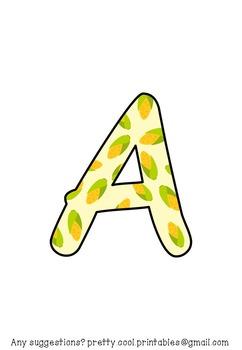 Printable display bulletin letters numbers and more: Harvest Vegetable Sweetcorn